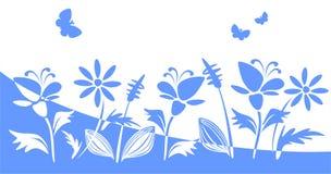 blåa blommasilhouettes royaltyfri illustrationer