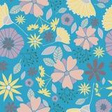 blåa blommor mönsan seamless stock illustrationer