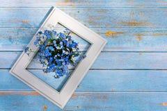 Blåa blommor och vit ram på en ljus träbakgrund Minsta begrepp f?r v?r mot bakgrund field bl?a oklarheter f?r gr?n vitt wispy nat royaltyfria bilder