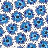 Blåa blommor på seamless modell för vit bakgrund Royaltyfri Fotografi