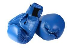 blåa boxninghandskar Fotografering för Bildbyråer