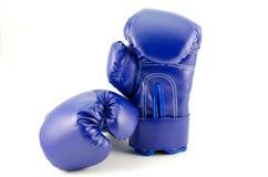 Blåa boxningjordklot på en vit bakgrund Royaltyfri Fotografi