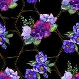 Blåa bukettblommor Blom- botanisk blomma Seamless bakgrund mönstrar Fotografering för Bildbyråer