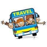 Blåa buss och barn, vektorsymbol Royaltyfri Foto