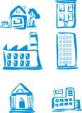 blåa byggnader Fotografering för Bildbyråer