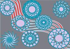 Blåa cirklar för dekorativ harmoni stock illustrationer