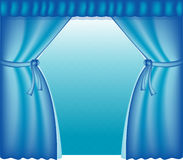 blåa courtains Arkivfoton