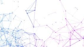 Blåa data- och för triangel för nätverksanslutning linjer och sfärer för digital dator i futuristiskt teknologibegrepp på vit bak royaltyfri illustrationer