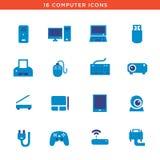 Blåa datorapparatsymboler Arkivbilder
