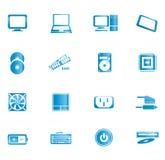 Blåa datorsymboler Arkivfoto