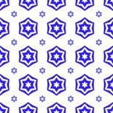 Blåa David Star Seamless Background Arkivfoto