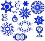 blåa dekorativa symbolsformer Fotografering för Bildbyråer