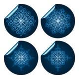 blåa detailed högt snowflakeetiketter royaltyfri illustrationer