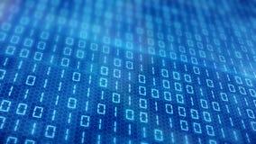 Blåa digitala binära data på datorskärmen med bokeh lager videofilmer