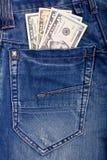 blåa dollar jeansfack Royaltyfria Foton