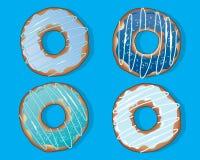 Blåa donuts på en turkosbakgrund vektor illustrationer