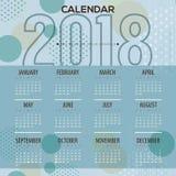 2018 blåa Dots Pattern Printable Calendar Starts söndag Arkivfoton