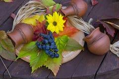 Blåa druvor och gul blomma Royaltyfria Bilder