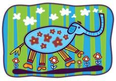 Blåa elefant och blommor Royaltyfri Fotografi