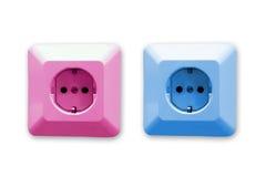 blåa elektriska rosa stickkontakter Royaltyfri Foto