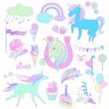 Blåa enhörningar med glass, ett stycke av kakan och ballonger på vit bakgrund Fotografering för Bildbyråer