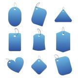 blåa etiketter Fotografering för Bildbyråer