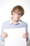 blåa exponeringsglas man den paper arkskjortan Fotografering för Bildbyråer