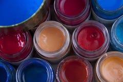 blåa färger pink red Arkivbilder