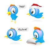 blåa fåglar vektor illustrationer