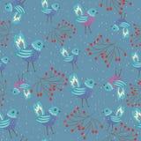 blåa fåglar stock illustrationer