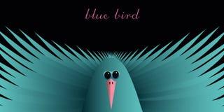 Blåa fåglar på en svart bakgrund Royaltyfri Foto