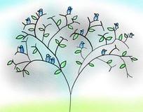 Blåa fåglar på träd Royaltyfria Bilder