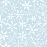 Blåa för himmel och vita snöflingor vektor illustrationer