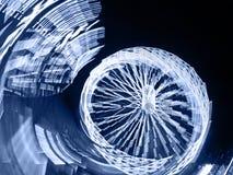 Blåa Ferris Wheel på natten Arkivbild