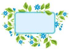 blåa floror inramniner den ljusa vektorn royaltyfri illustrationer