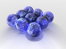 blåa flottörhus spheres Arkivfoto