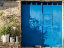 Blåa gamla metalldörrar Royaltyfria Foton