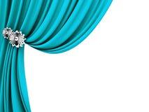 Blåa gardiner Arkivfoto