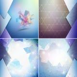 Blåa geometriska bakgrunder uppsättning, abstrakt triangel Royaltyfri Bild