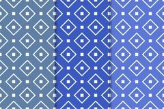 Blåa geometriska prydnader mönsan den seamless seten