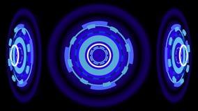Blåa glödande hjul, illustration 3d Royaltyfria Bilder