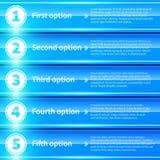 Blåa glansiga färgrika baner med nummer från 1 till 5 Royaltyfria Bilder