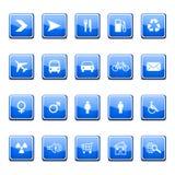 blåa glansiga symboler Arkivbilder