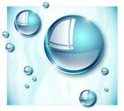 Blåa glansiga vattensmå droppar vektor illustrationer