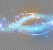 Blåa gnistor och stjärnor blänker special ljus effekt Mousserande magiska dammpartiklar Ljus signalljusspecialeffekt med strålar royaltyfri illustrationer