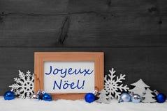 Blåa Gray Decoration, snö, Joyeux Noel Mean Merry Christmas Fotografering för Bildbyråer