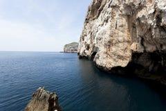 Blåa grottor på Sardinia Arkivbild