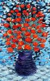 blåa grupper blommar hängande livstidsoljepink table fortfarande vasen Bukett av röda blommor på blå bakgrund royaltyfri illustrationer