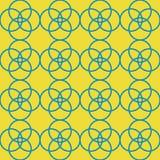 Blåa gula geometriska cirklar upprepar modelldesign vektor illustrationer