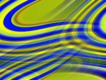 Blåa gula vätskelinjer bakgrund, abstrakta färgrika geometrier royaltyfri illustrationer